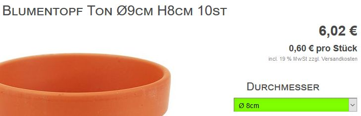 Screenshot Tonblumentopf - gewählt 8cm gezeigt 9cm Durchmesser
