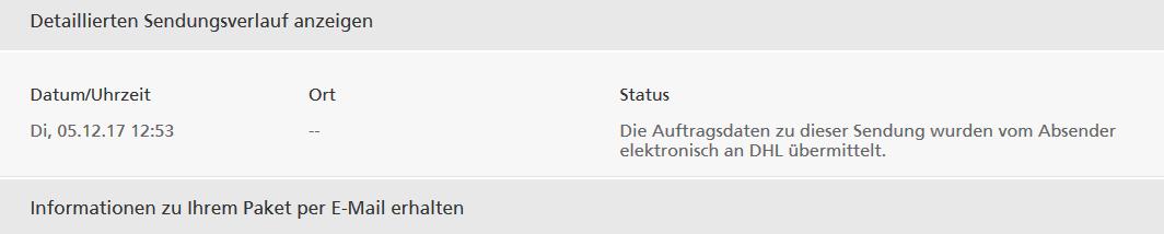 Sendungsverfolgung DHL: am 5.12. wurden die Daten elektronisch übermittelt